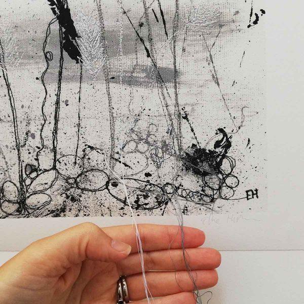Autumn Shoreline embroidered art print by artist Ellie Hipkin