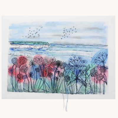 Cliff View Textile Art Print By Artist Ellie Hipkin