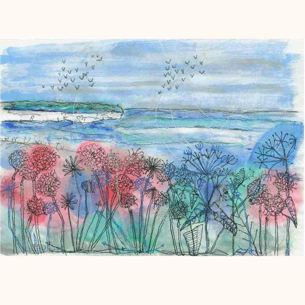 Cliff View Original Textile painting by artist Ellie Hipkin