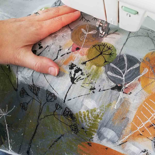 Embroidering Winter Reflections by Textile artist Ellie Hipkin