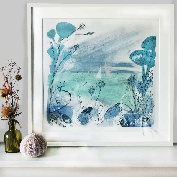 Summer Shoreline Art Print By Textile Artist Ellie Hipkin