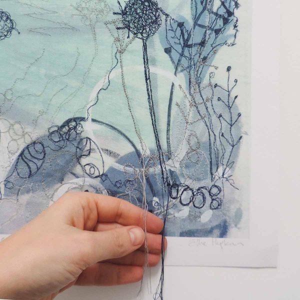 Summer Shoreline embroidered art print by artist Ellie Hipkin