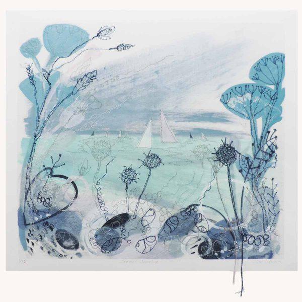 Summer Shoreline Textile Art Print By Artist Ellie Hipkin