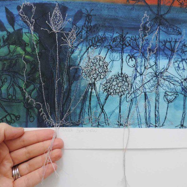Sunset Sea View Art embroidered art print by artist ellie hipkin