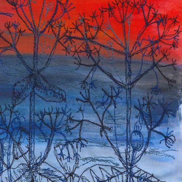 Sunset Sea View close up original painting by artist Ellie Hipkin