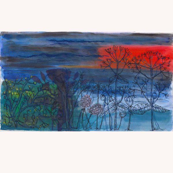 Sunset Sea View original painting by artist Ellie Hipkin