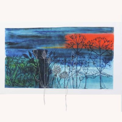 Sunset Sea View Textile Art Print By Artist Ellie Hipkin