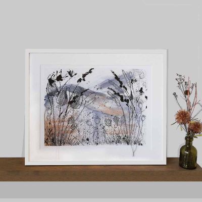 Winter Fields Art Print by artist Ellie Hipkin