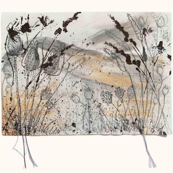 Winter Fields Original Textile painting by artist Ellie Hipkin