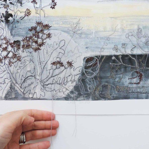 Winter Sea Mist embroidered print by Artist Ellie Hipkin