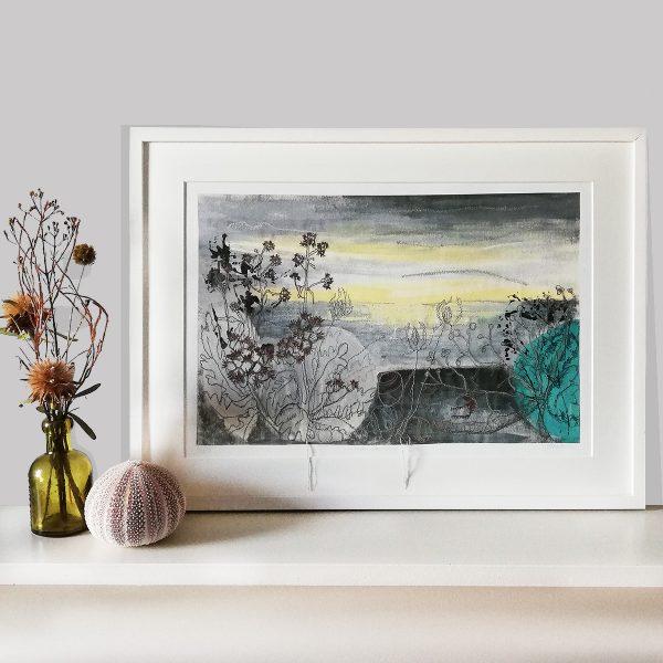 Winter Sea Mist Framed print by Artist Ellie Hipkin