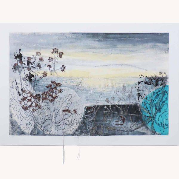 Winter Sea Mist Textile Art Print By Artist Ellie Hipkin