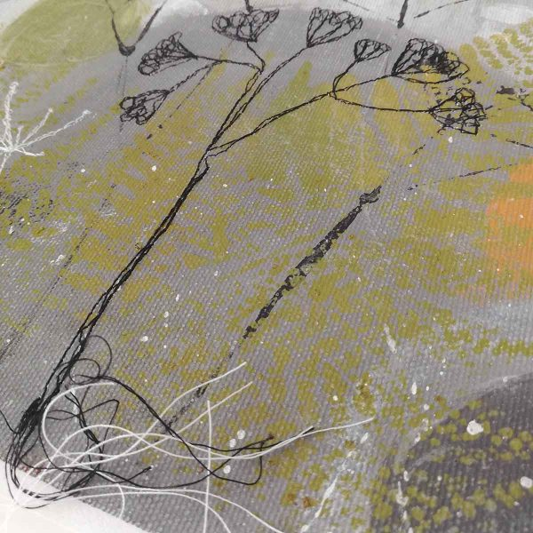 Detail from Winter Reflections original painting by artist ellie hipkin