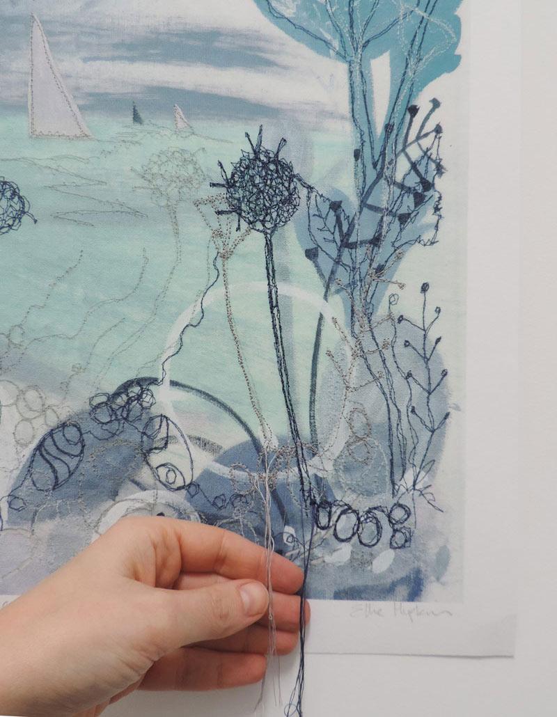 Summer Shoreline embroidered art print by Ellie Hipkin