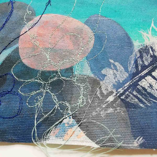 Embroidery close from Calm Original Textile painting by Artist Ellie Hipkin