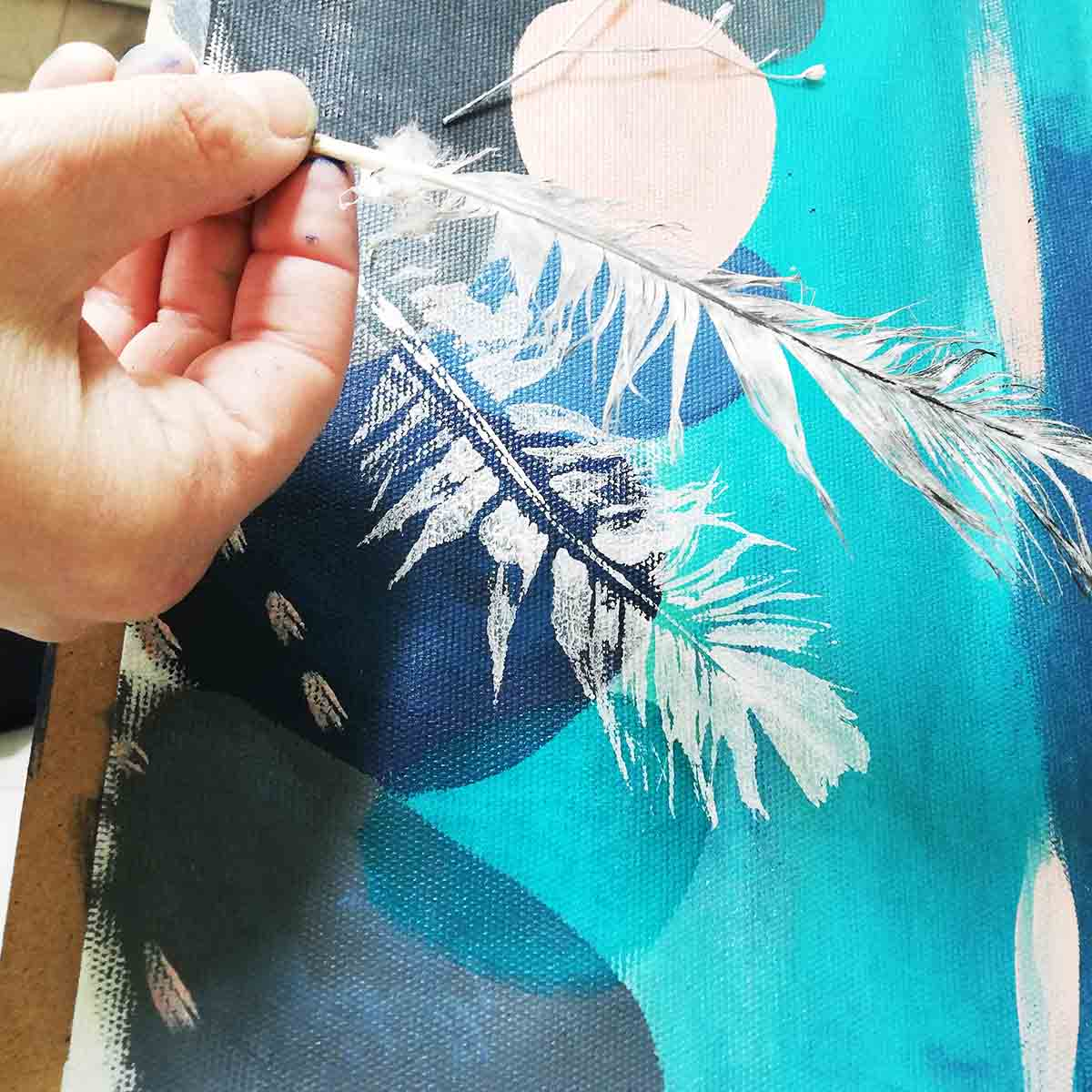 Mono Printing from Calm Original Textile painting by Artist Ellie Hipkin
