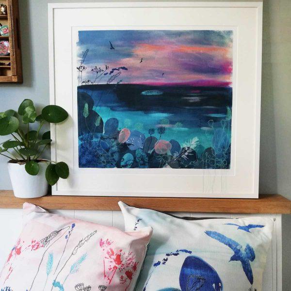 Calm Print with freyelli designs cushions by Artist Ellie Hipkin
