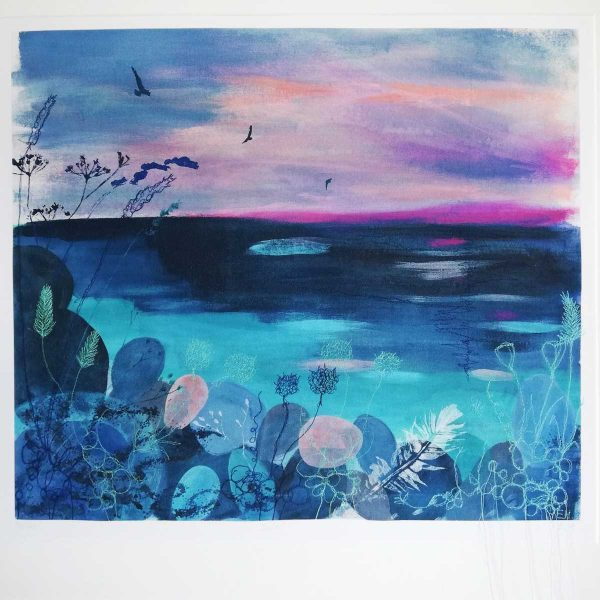 Calm embroidered giclee print by artist Ellie Hipkin