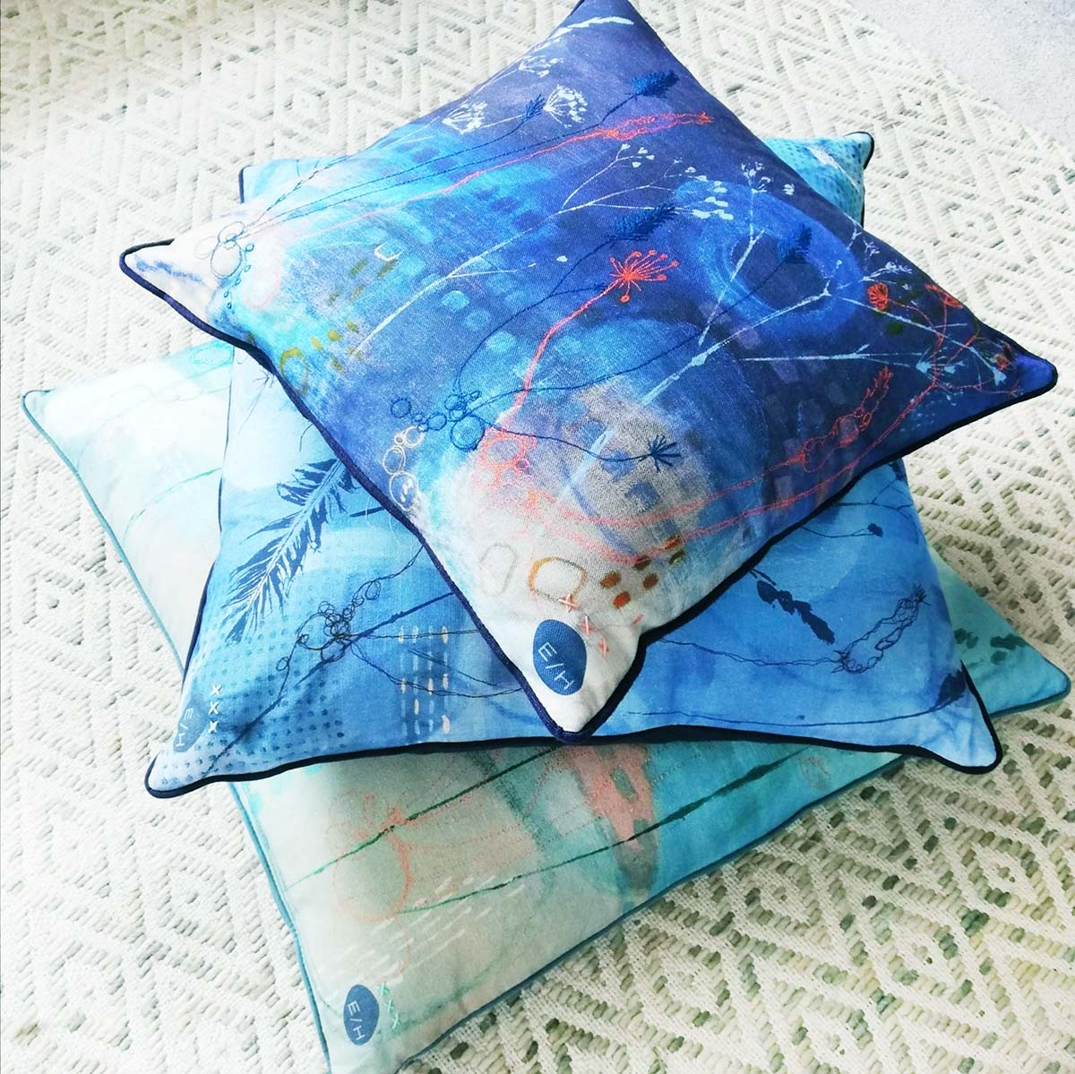 Art cushions by Ellie Hipkin Art